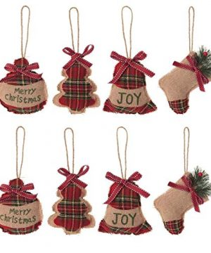 RTWAY Christmas Tree Ornaments Set Of 8 Holiday Ornaments Christmas Stocking Tree Ball Star Bell Holiday Party Decor 0 300x360