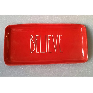 Rae Dunn By Magenta Christmas Red Believe Large Platter Plate