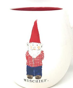 Rae Dunn By Magenta Gnome ChristmasMischief Coffee Mug With Red Interior 0 300x360