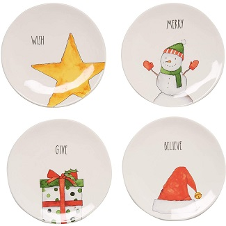 Rae Dunn Christmas Holiday Appetizer Plates - Set of 4