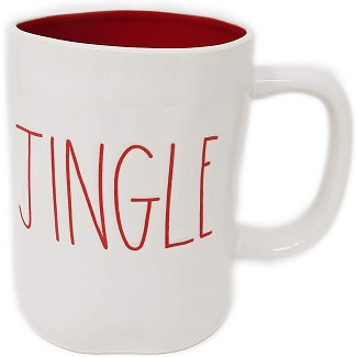 Rae Dunn Magenta Ceramic Coffee Mug Jingle Cream