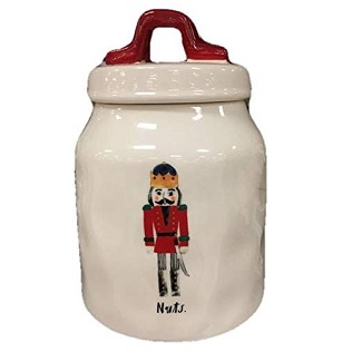 Rae Dunn Magenta Ceramic Nutcracker Nuts Christmas Canister Artisan Collection