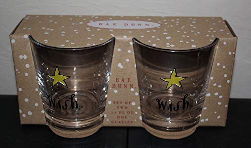 Rae Dunn Wish In Script Letters With Yellow Starfish Christmas Set Of 2 DOF Glasses 11 Oz In Gift Box By Magenta 0