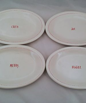 Rae Dunn By Magenta Holiday 85 Christmas Oval Plates Set Of 4 Bright Merry Joy And Cheer 0 300x360