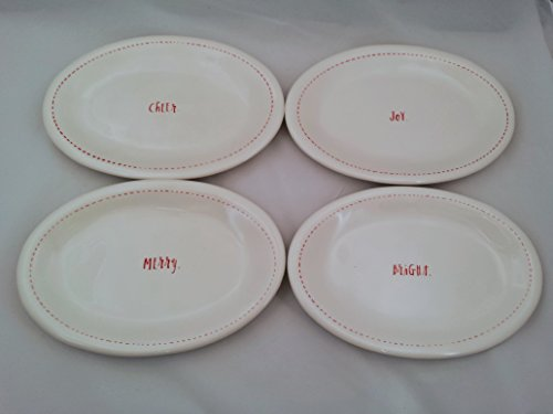 Rae Dunn By Magenta Holiday 85 Christmas Oval Plates Set Of 4 Bright Merry Joy And Cheer 0
