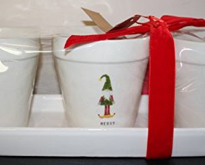 Rae Dunn By Magenta MAGIC MERRY MISCHIEF In Typeset Letters With Christmas Gnomes In Hats 3 Flower Pot Set With Tray And Red Christmas Bow 0 300x241