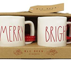 Rae Dunn By Magenta Merry Bright Ceramic LL Red Letter Mini Mug Christmas Tree Ornaments 0 300x275