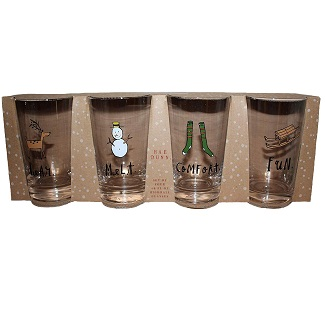 Rae Dunn by Magenta Set of 4 18 oz. Christmas Highball Glasses Dear. Melt. Comfort. and Fun. Clear glass