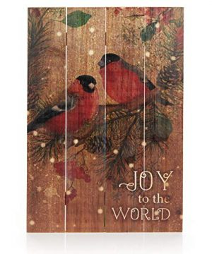 ReLive Decorative Expressions 18x12 Decorative Wooden Sign Christmas Birds Joy To The World 0 300x360