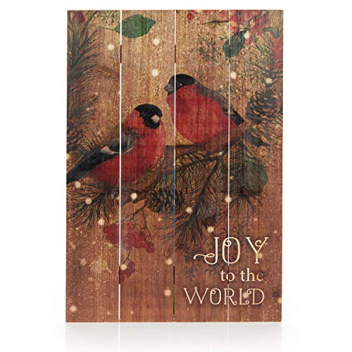ReLive Decorative Expressions 18x12 Decorative Wooden Sign Christmas Birds Joy To The World 0