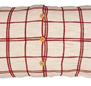 Red Double Windowpane King Size Pillow Sham 21 X 37 Rustic Farmhouse Bedding Country Cottage Natural Cream Cranberry Red Woven Pillow Cover 0 0 300x282