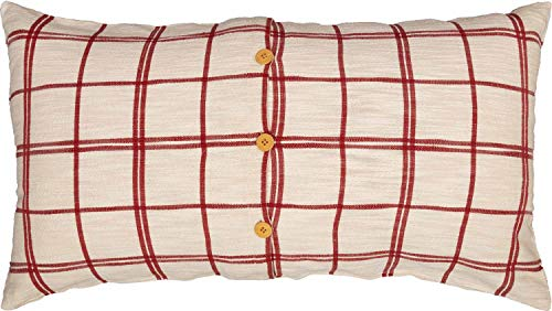 Red Double Windowpane King Size Pillow Sham 21 X 37 Rustic Farmhouse Bedding Country Cottage Natural Cream Cranberry Red Woven Pillow Cover 0 0