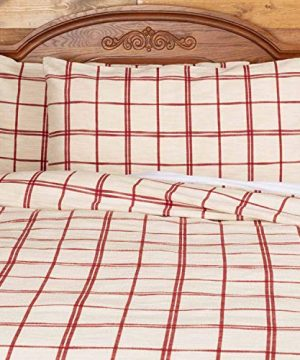 Red Double Windowpane King Size Pillow Sham 21 X 37 Rustic Farmhouse Bedding Country Cottage Natural Cream Cranberry Red Woven Pillow Cover 0 1 300x360