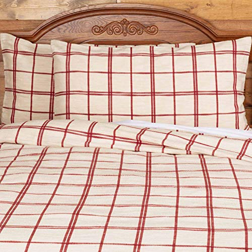 Red Double Windowpane King Size Pillow Sham 21 X 37 Rustic Farmhouse Bedding Country Cottage Natural Cream Cranberry Red Woven Pillow Cover 0 1