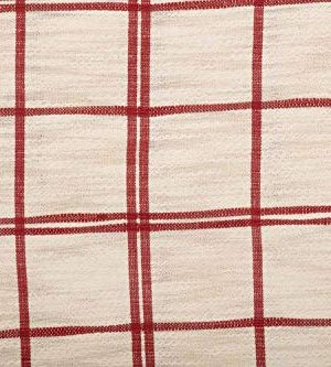 Red Double Windowpane King Size Pillow Sham 21 X 37 Rustic Farmhouse Bedding Country Cottage Natural Cream Cranberry Red Woven Pillow Cover 0 2 300x333
