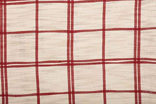 Red Double Windowpane King Size Pillow Sham 21 X 37 Rustic Farmhouse Bedding Country Cottage Natural Cream Cranberry Red Woven Pillow Cover 0 2