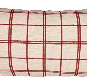 Red Double Windowpane King Size Pillow Sham 21 X 37 Rustic Farmhouse Bedding Country Cottage Natural Cream Cranberry Red Woven Pillow Cover 0 300x282
