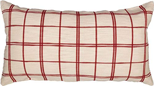 Red Double Windowpane King Size Pillow Sham 21 X 37 Rustic Farmhouse Bedding Country Cottage Natural Cream Cranberry Red Woven Pillow Cover 0