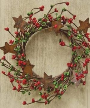 Red Green Pip Berry Ring Mini Wreath With Rusty Stars Country Primitive Christmas Holiday Decor 0 300x360