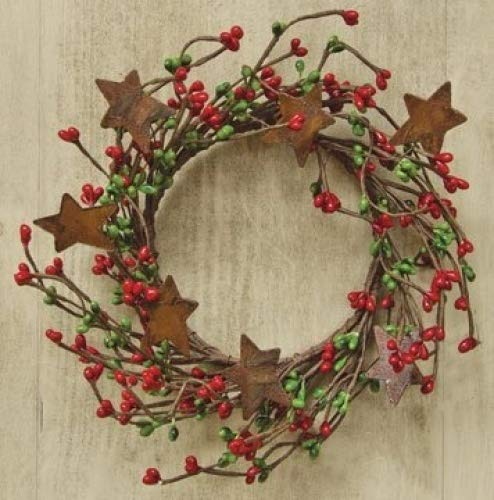 Red Green Pip Berry Ring Mini Wreath With Rusty Stars Country Primitive Christmas Holiday Decor 0