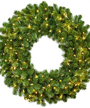 Red Sleigh Sequoia Fir Commercial Grade Traditional Christmas Wreath And Matching Christmas Garland Greenery 24 Wreath Warm White LED Lights 0 300x360