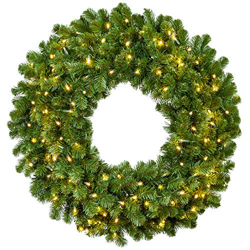 Red Sleigh Sequoia Fir Commercial Grade Traditional Christmas Wreath And Matching Christmas Garland Greenery 24 Wreath Warm White LED Lights 0