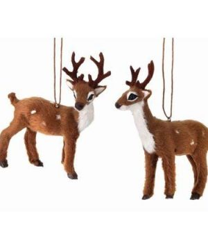 Regency International Set Of 2 4 Furry Deer Christmas Ornaments 0 300x360