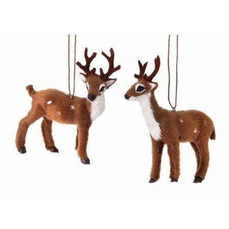 Regency International Set Of 2 4 Furry Deer Christmas Ornaments 0
