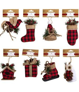 Regent Buffalo Plaid Burlap Kraft Pinecone Berries Christmas Ornaments Set Of 7 0 300x350