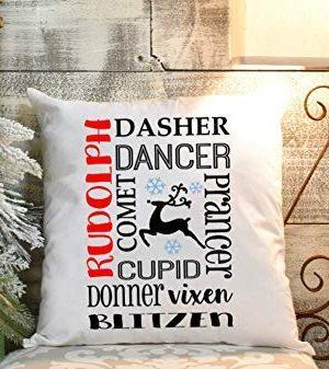 Reindeer Pillow Cover Farmhouse Christmas Decor Living Room Seasonal Pillow Covers 16x16 0 300x337