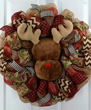 Reindeer Wreath Red And Burlap Christmas Wreath Rustic Front Door Wreath Jute 0 300x360