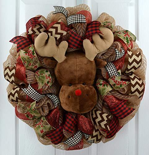 Reindeer Wreath Red And Burlap Christmas Wreath Rustic Front Door Wreath Jute 0