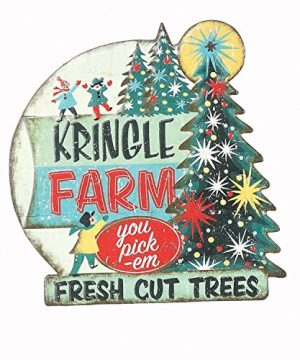 Retro Vintage Tin Embossed Christmas Sign With Santa Tree Or Snowman Hanging Holiday Decoration Tree 0 300x360