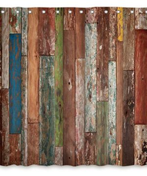 Riyidecor Antique Wooden Shower Curtain 72x78 Inch Metal Hooks 12 Pack Red Blue Grey Grunge Rustic Planks Barn House Wood And Lodge Hardwood Decor Fabric Bathroom Waterproof 0 0 300x360