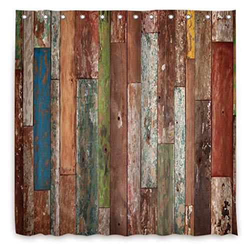 Riyidecor Antique Wooden Shower Curtain 72x78 Inch Metal Hooks 12 Pack Red Blue Grey Grunge Rustic Planks Barn House Wood And Lodge Hardwood Decor Fabric Bathroom Waterproof 0 0