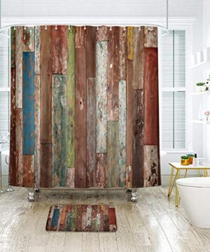 Riyidecor Antique Wooden Shower Curtain 72x78 Inch Metal Hooks 12 Pack Red Blue Grey Grunge Rustic Planks Barn House Wood And Lodge Hardwood Decor Fabric Bathroom Waterproof 0 1 300x360