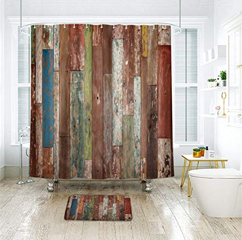 Riyidecor Antique Wooden Shower Curtain 72x78 Inch Metal Hooks 12 Pack Red Blue Grey Grunge Rustic Planks Barn House Wood And Lodge Hardwood Decor Fabric Bathroom Waterproof 0 1