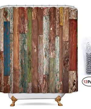 Riyidecor Antique Wooden Shower Curtain 72x78 Inch Metal Hooks 12 Pack Red Blue Grey Grunge Rustic Planks Barn House Wood And Lodge Hardwood Decor Fabric Bathroom Waterproof 0 300x360