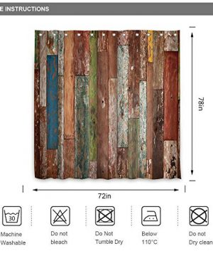 Riyidecor Antique Wooden Shower Curtain 72x78 Inch Metal Hooks 12 Pack Red Blue Grey Grunge Rustic Planks Barn House Wood And Lodge Hardwood Decor Fabric Bathroom Waterproof 0 4 300x360