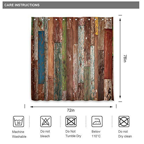 Riyidecor Antique Wooden Shower Curtain 72x78 Inch Metal Hooks 12 Pack Red Blue Grey Grunge Rustic Planks Barn House Wood And Lodge Hardwood Decor Fabric Bathroom Waterproof 0 4