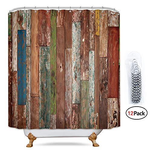 Riyidecor Antique Wooden Shower Curtain 72x78 Inch Metal Hooks 12 Pack Red Blue Grey Grunge Rustic Planks Barn House Wood And Lodge Hardwood Decor Fabric Bathroom Waterproof 0