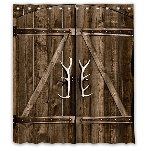 Riyidecor Wooden Garage Barn Door Shower Curtain 72x84 Inch With Metal Hooks 12 Pack Vintage Rustic Country Gate Extra Long Decor Fabric Bathroom Set Polyester Waterproof 0 1