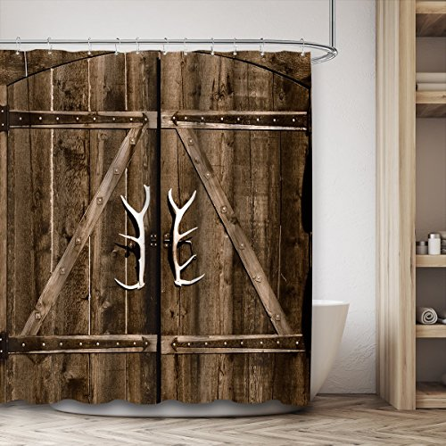 Riyidecor Wooden Garage Barn Door Shower Curtain 72x84 Inch With Metal Hooks 12 Pack Vintage Rustic Country Gate Extra Long Decor Fabric Bathroom Set Polyester Waterproof 0 2