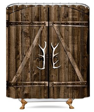 Riyidecor Wooden Garage Barn Door Shower Curtain 72x84 Inch With Metal Hooks 12 Pack Vintage Rustic Country Gate Extra Long Decor Fabric Bathroom Set Polyester Waterproof 0 300x360