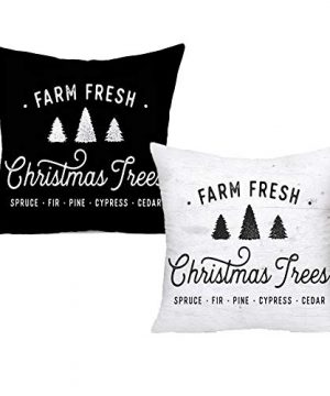 Royalours Christmas Pillow Cover Set Of 2 Super Soft Christmas Tree Farm Fresh Throw Pillow Covers Xmas Home Farmhouse Pillowcase Cushion Cover 18x 18 Soft Xmas 0 300x360