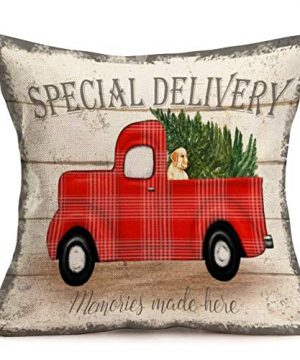 Royalours Throw Pillow Covers Cotton Linen Set Of 2 Merry Christmas Pillow Cover Red Truck With Tree Dog Cushion Cover Farmhouse Decorative Throw Pillow Case 18 X 18 2Pack Car Dog 0 0 300x360