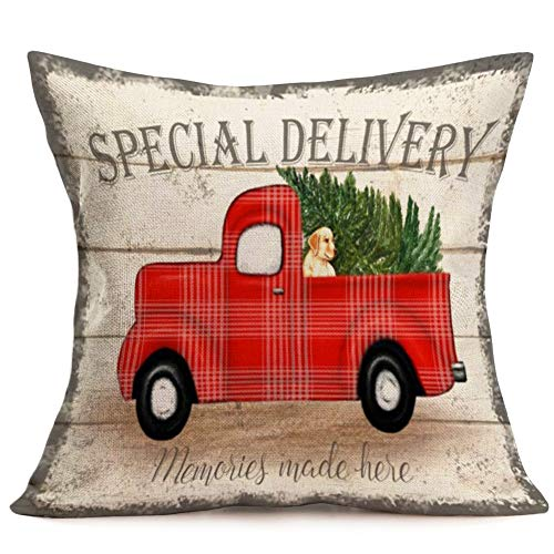 Royalours Throw Pillow Covers Cotton Linen Set Of 2 Merry Christmas Pillow Cover Red Truck With Tree Dog Cushion Cover Farmhouse Decorative Throw Pillow Case 18 X 18 2Pack Car Dog 0 0