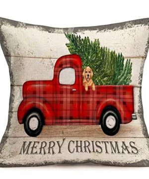 Royalours Throw Pillow Covers Cotton Linen Set Of 2 Merry Christmas Pillow Cover Red Truck With Tree Dog Cushion Cover Farmhouse Decorative Throw Pillow Case 18 X 18 2Pack Car Dog 0 1 300x360