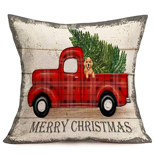 Royalours Throw Pillow Covers Cotton Linen Set Of 2 Merry Christmas Pillow Cover Red Truck With Tree Dog Cushion Cover Farmhouse Decorative Throw Pillow Case 18 X 18 2Pack Car Dog 0 1
