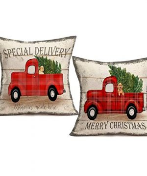 Royalours Throw Pillow Covers Cotton Linen Set Of 2 Merry Christmas Pillow Cover Red Truck With Tree Dog Cushion Cover Farmhouse Decorative Throw Pillow Case 18 X 18 2Pack Car Dog 0 300x360